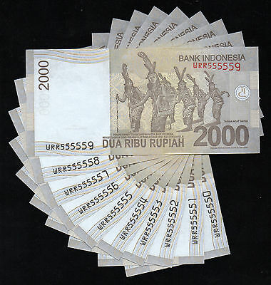 Indonesia Banknote 2000 Rupiah 2016 X 10 Inclusive Solid Number WRR55555 - A257