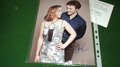me before you CAST BY 2 SIGNED PHOTO COA b