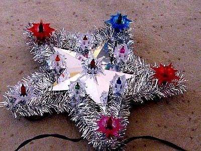 Christmas Tree Star - Light-Up topper - 11Multi Color Lights and Silver Tinsel