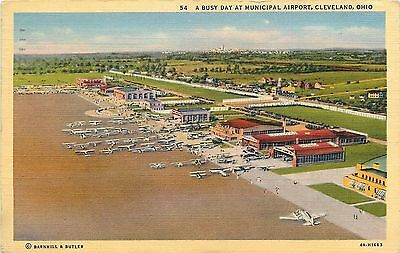 Cleveland OH~A Busy Day at Municipal Airport~1934 Postcard