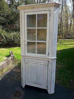 Antique Amish Built Unfinished Reclaimed Barn Wood Corner Cabinet W/glass 24""