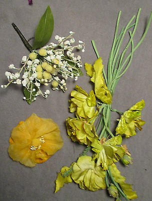 Vintage Millinery Flowers - Shades of Yellow, Green & White
