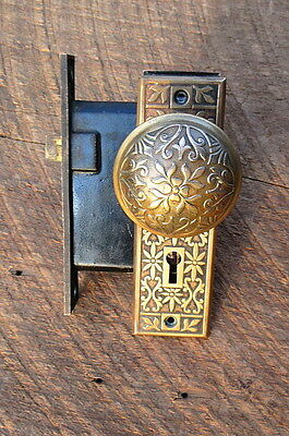 Vintage Antique Eastlake Brass Door Knob Set
