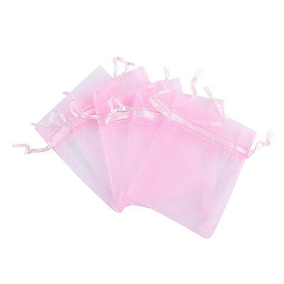 """100pcs Organza Bags Jewelry Beads Pendent Mini Gift Pouches  3x4"""" Pink"""