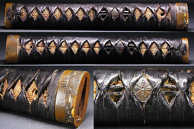 "TSUKA of KATANA Sword 18-19th C Japanese Edo Antique ""Bird, KAMON"" c614"