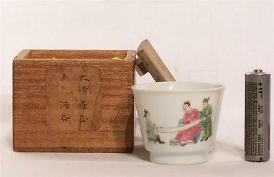 Chinese Famille Rose Porcelain Winecup Scholar View Calligraphy in Inscribed Box