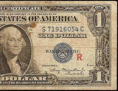 1935 A $1 Dollar Bill Red R Experimental Silver Certificate Currency Note F 1609