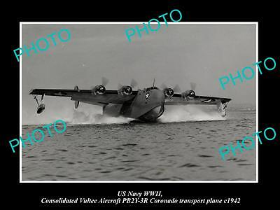 OLD HISTORIC PHOTO OF US NAVY WWII CONSOLIDATED VULTEE CORONADO AIRCRAFT c1942