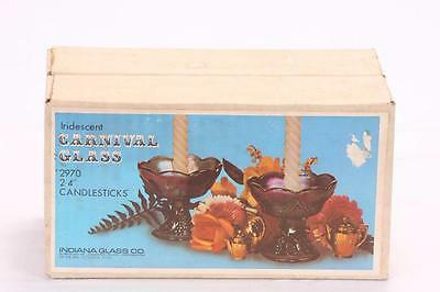 """Indiana Glass Co.  Carnival Glass 4"""" Candlestick Holders BOXED"""
