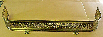 """Brass Claw Footed Fireplace Fender Pierced Guard Surround 48"""" Ornate Victorian"""