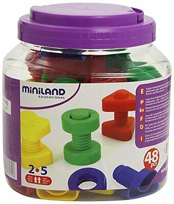 Miniland Plastic Screws and Nuts in Tub 48 Pieces