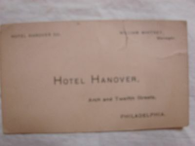 Old Hotel Hanover Manager Business Card