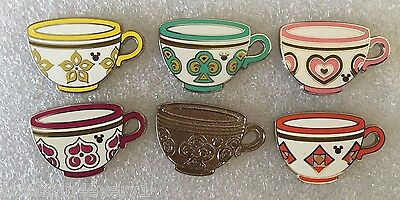 Disney Pin - DLR - 2015 Hidden Mickey Mad Tea Party Cups - Complete Set of 6