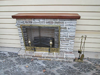 57360 Fireplace Mantle with logs, screen , andirons and tools