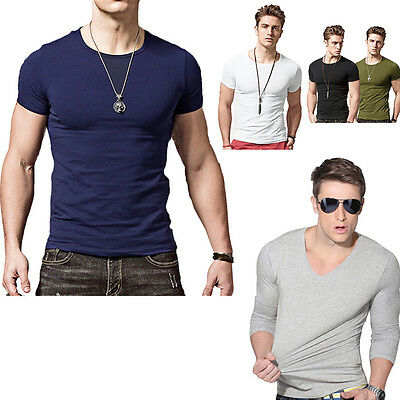 Fashion Men's Slim Fit Crew Neck Shirts V-Neck Long Sleeve Casual T-Shirt Tops