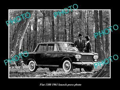Old Large Historic Photo Of 1961 Fiat 1300 Car Launch Press Photo 2
