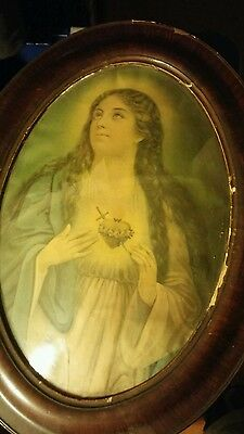 Wood OVAL PICTURE FRAME - Convex Bubble Glass W/ Old Photo