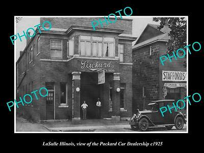 OLD LARGE HISTORIC PHOTO OF LaSALLE ILLINOIS, THE PACKARD CAR DEALERSHIP c1925