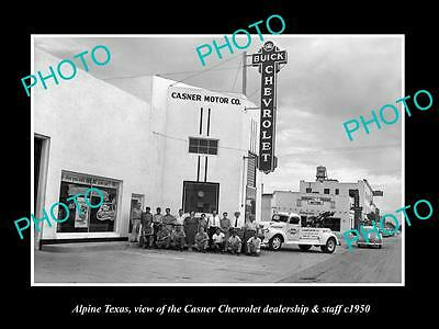 OLD LARGE HISTORIC PHOTO OF ALPINE TEXAS, THE CHEVROLET CAR DEALERSHIP c1950