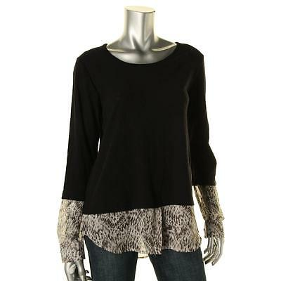 Two by Vince Camuto 8839 Womens Black Layered Print Pullover Top Shirt S BHFO
