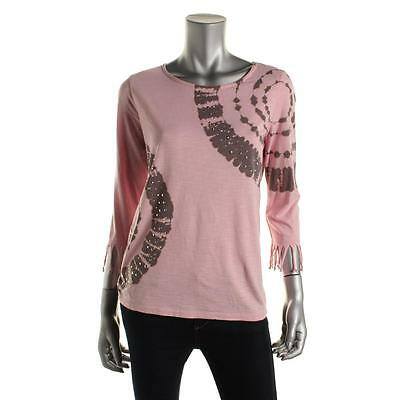INC 6457 Womens Pink Embellished Fringe 3/4 Sleeves Pullover Top Shirt L BHFO
