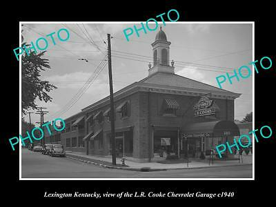 Old Large Historic Photo Of Lexington Kentucky, The Cooke Chevrolet Garage 1940