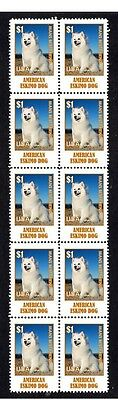 American Eskimo Dog Strip Of 10 Mint Stamps #4