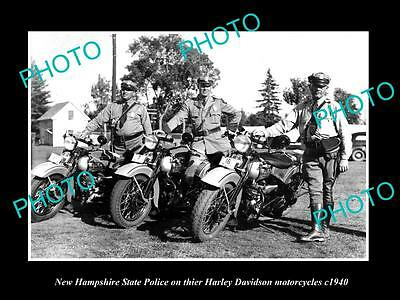 OLD HISTORIC PHOTO OF NEW HAMPSHIRE STATE POLICE ON THIER HARLEY DAVIDSON c1940