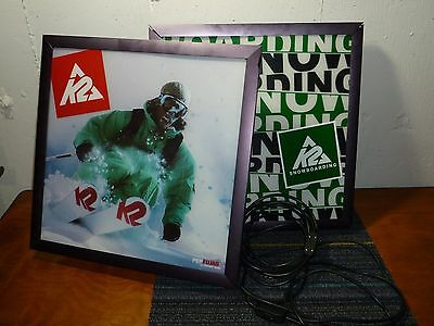 (Lot of 2) K2 Snowboard/Ski Shop Lighted Signs, Light Box, Fair Condition!