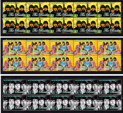 The Beatles Top Of Pops Set Of 3 Mint Stamp Strips