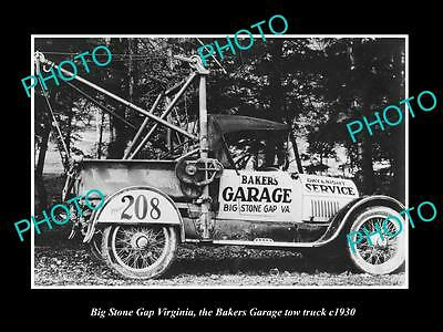 OLD LARGE HISTORIC PHOTO OF BIG STONE GAP VIRGINIA, THE BAKERS TOW TRUCK c1930