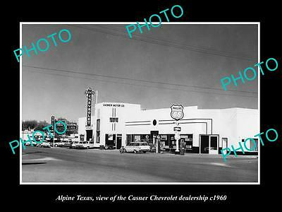 OLD LARGE HISTORIC PHOTO OF ALPINE TEXAS, THE CHEVROLET CAR DEALERSHIP c1960