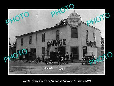 OLD LARGE HISTORIC PHOTO OF EAGLE WISCONSIN, THE SMITH'S FORD GARAGE c1910