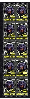 Gordon Setter P/breed Dog Mint Strip Of 10 Stamps 4