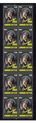 Gordon Setter P/breed Dog Mint Strip Of 10 Stamps 3