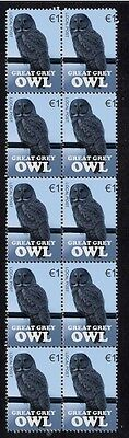 Great Grey Owl Strip Of 10 Mint Vignette Stamps 2