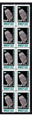 Nth American Pacific Screech Owl Strip 10 Mint Stamps