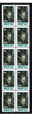 Mottled Nth American Owl Strip Of 10 Mint Stamps
