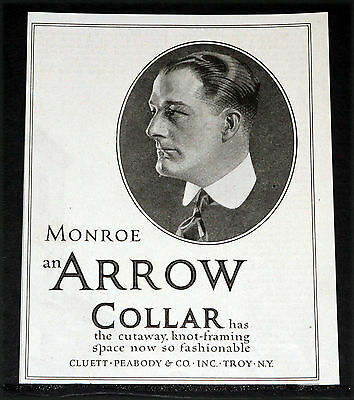 "1919 Old Magazine Print Ad, Arrow ""monroe"" Collar, With Knot-Framing Space, Art!"