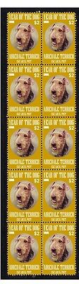 AIREDALE TERRIER STRIP OF 10 MINT CKC YoD DOG STAMPS