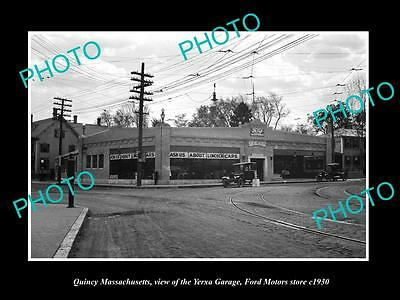 OLD LARGE HISTORIC PHOTO OF QUINCY MASSACHUSETTS, THE FORD MOTOR GARAGE c1930