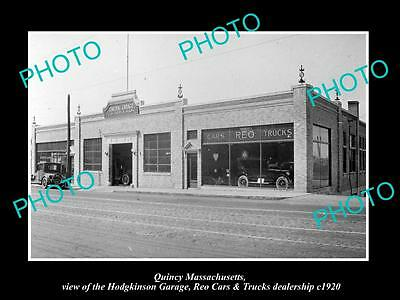 Old Large Historic Photo Of Quincy Massachusetts, The Reo Car & Truck Store 1920
