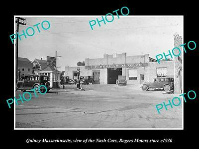 OLD LARGE HISTORIC PHOTO OF QUINCY MASSACHUSETTS, THE NASH CAR DEALERS c1930