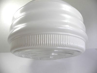"""Vintage Art Deco White Clear Globe Light Fixture Ceiling Shade Ribbed 8.5"""""""