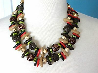 Vintage Nut Necklace Earrings Set Mixed Fruit Salad W. Germany 2 Strand