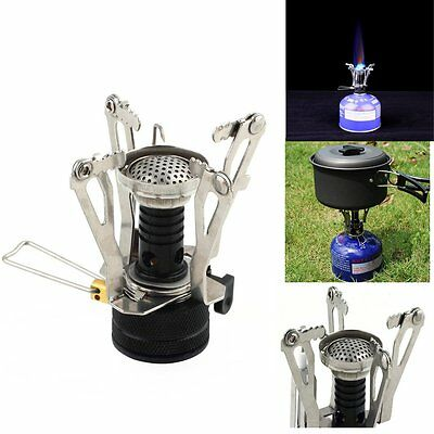 HOT Outdoor Picnic Butane Gas Burner Portable Camping Mini Steel Stove Case NEW