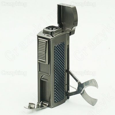 Carbon Fiber Metal 4 Torch Jet Flame Cigar Lighter With Cutter 2 Punch Cohiba
