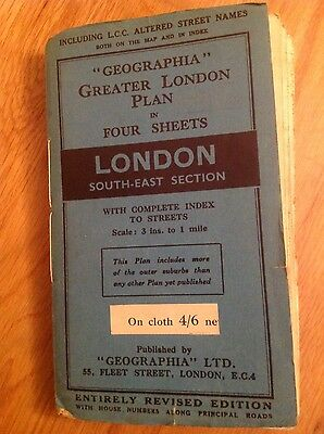 "c1950 ""GEOGRAPHIA - LONDON SOUTH-EAST SECTION"" - LINEN 3 INCH TO ONE MILE"