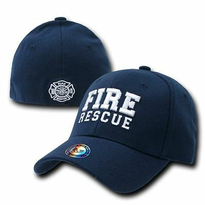 Fire Rescue Ball Cap Fireman Firefighter FD Flex Baseball Ball Cap Emergency Hat