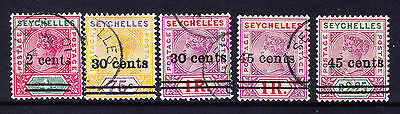SEYCHELLES QV 1902 SG41/45 - set of 5 surcharges - very fine used. Cat £200